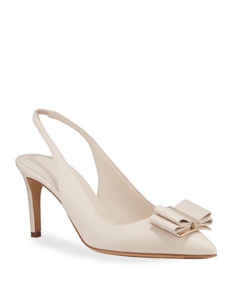Salvatore Ferragamo Zahir Leather Slingback Bow Pumps