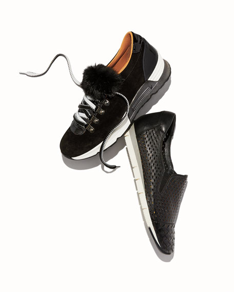 Sesto Meucci Cade Woven Leather Sneakers with Built-In Arch