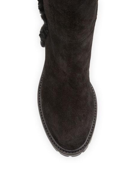 Aquatalia Cheyenne Suede Shearling Knee Boots