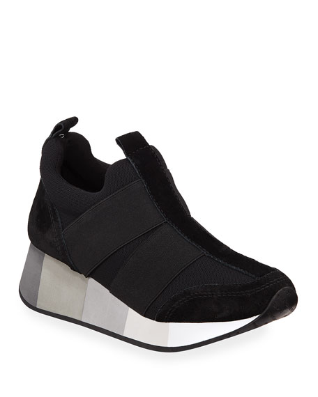 Donald J Pliner Sneakers Prix Mixed Suede Pull-On Wedge Sneakers