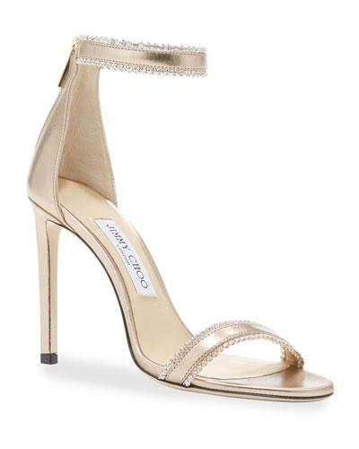 Dochas Jeweled Metallic Leather Sandals
