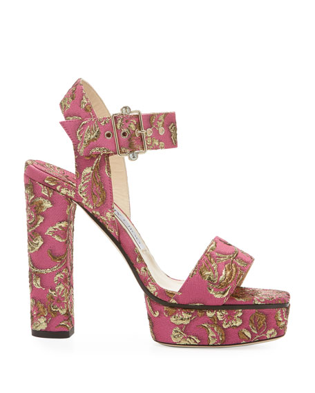 Image 2 of 3: Jimmy Choo Maie Brocade Platform Sandals
