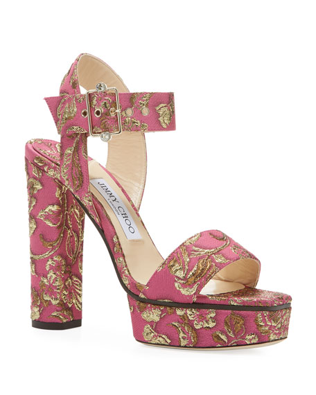 Image 1 of 3: Jimmy Choo Maie Brocade Platform Sandals