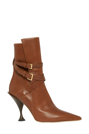 Burberry Hadfield Pedestal-Heel Leather Boots