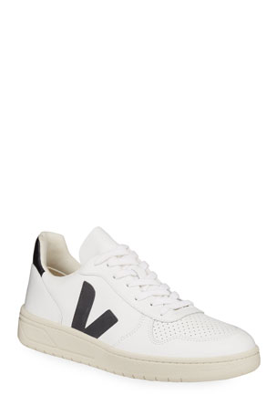 VEJA V 10 Low-Top Leather Tennis Sneakers