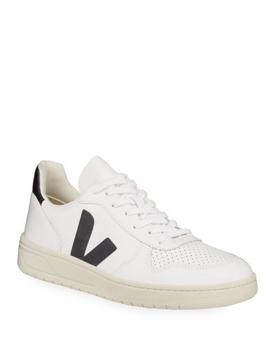 V 10 Low-Top Leather Tennis Sneakers