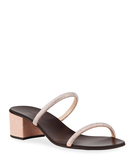 Giuseppe Zanotti Suede & Crystal Slide Sandals