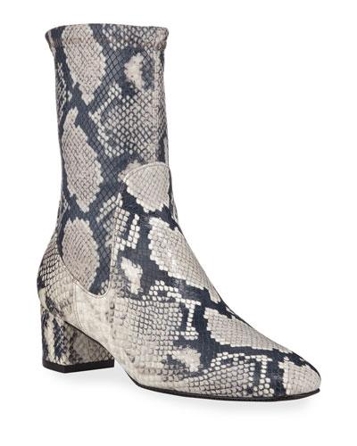 Ernestine Python-Print Sock Booties
