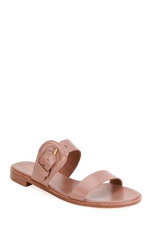 Gianvito Rossi Flat Buckle Slide Sandals