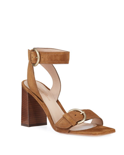 Suede Buckle Ankle-Strap Sandals