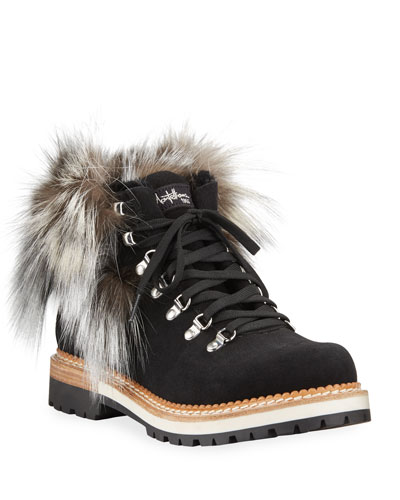 Clara Lace-Up Boots with Fox Fur