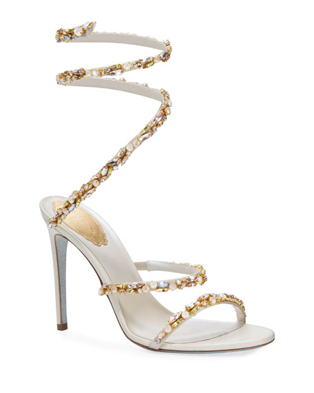 Rene Caovilla Stone Covered Satin Snake Sandals