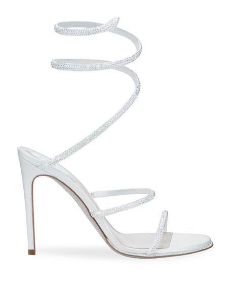 Rene Caovilla Shimmery Crystal Satin Snake Sandals