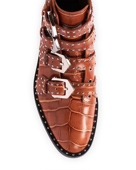 Givenchy Elegant Studded Croco-Print Booties