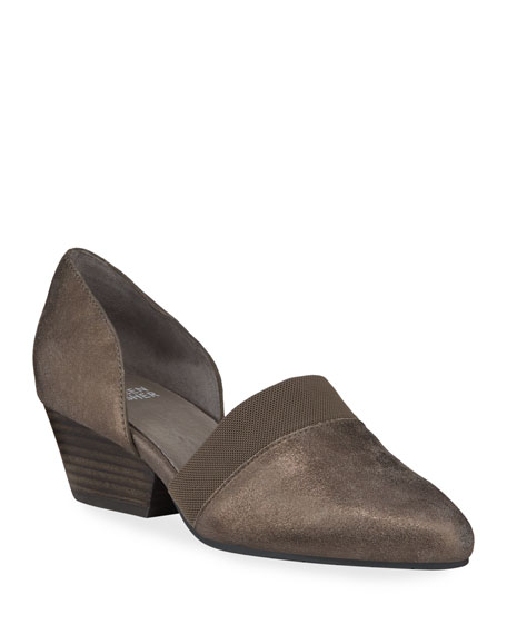 Eileen Fisher Hilly Easy Metallic Leather Demi-Wedge Pumps