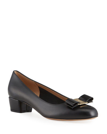 Image 1 of 4: Salvatore Ferragamo Vara Icon Leather Bow Pumps