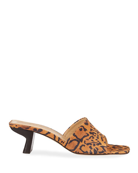 BY FAR Lily Leopard-Print Suede Slide Sandals