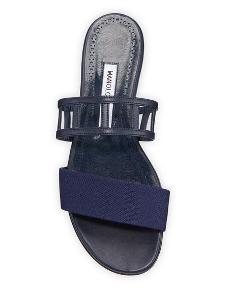 Manolo Blahnik Abbey Flat Cutout Leather Sandal