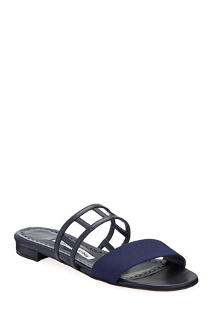 Manolo Blahnik Abbey Flat Cutout Leather Sandal