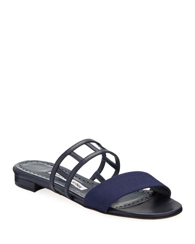 Abbey Flat Cutout Leather Sandal