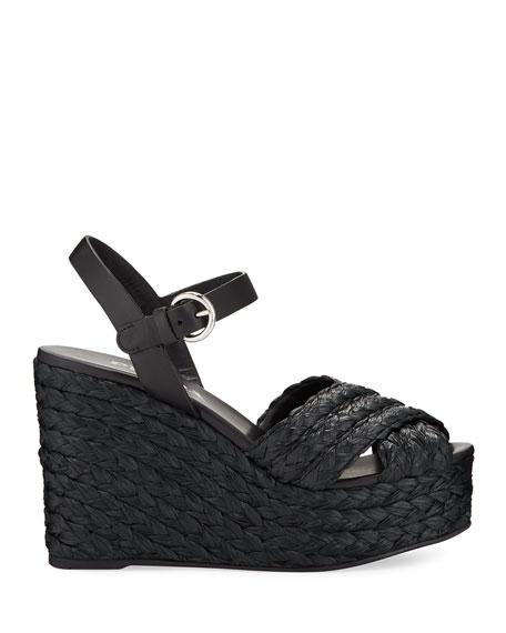 Prada Crisscross Raffia Wedge Sandals
