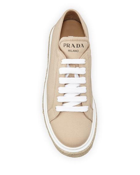 Prada Canvas Platform Espadrille Sneakers