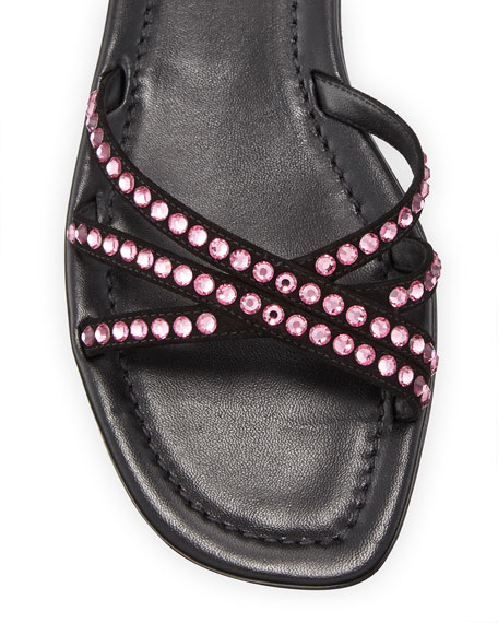 Prada Crystal Ankle-Wrap Flat Sandals