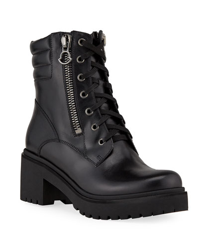 Viviane Block-Heel Leather Boots w/ Side Zip