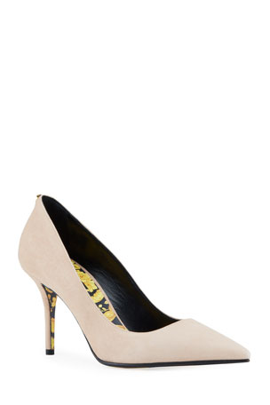 Versace Suede Pumps with Baroque Sole $625.00
