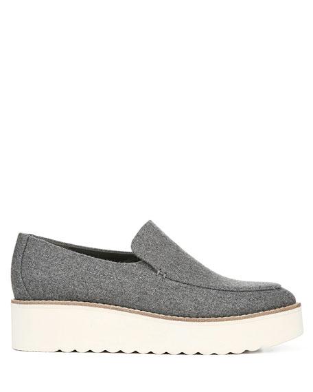 Vince Zeta Flannel Flatform Slip-On Loafers