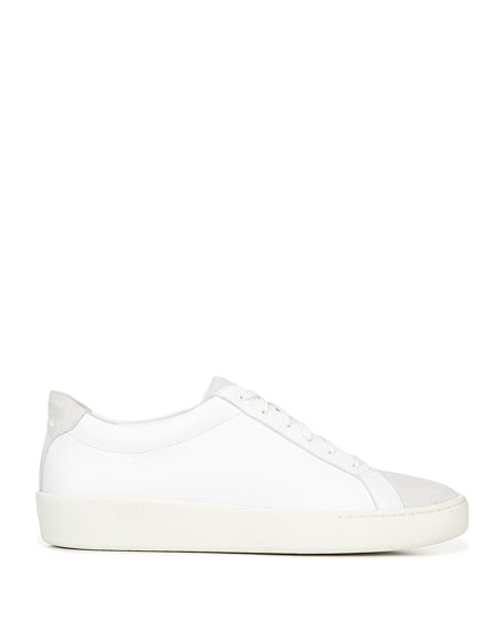 Image 3 of 5: Vince Janna Mixed Leather Low-Top Sneakers