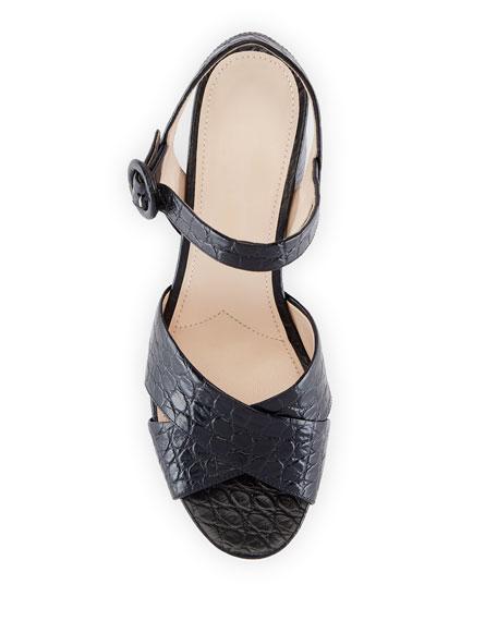Prada Crocodile-Print Crisscross Sandals