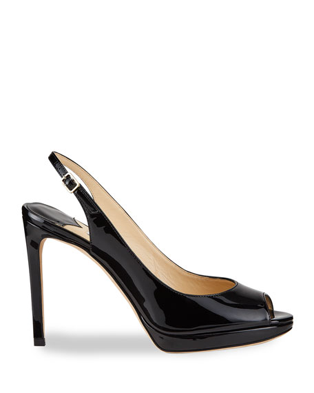 Image 2 of 4: Jimmy Choo Nova Patent Leather Peep-Toe Slingback Pumps