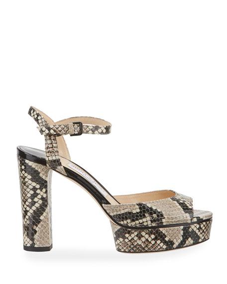 Jimmy Choo Peachy 105mm Snake-Print Platform Sandals