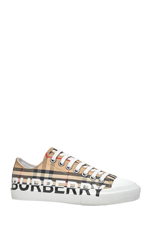 Burberry Larkhall Low-Top Logo Check Canvas Sneakers