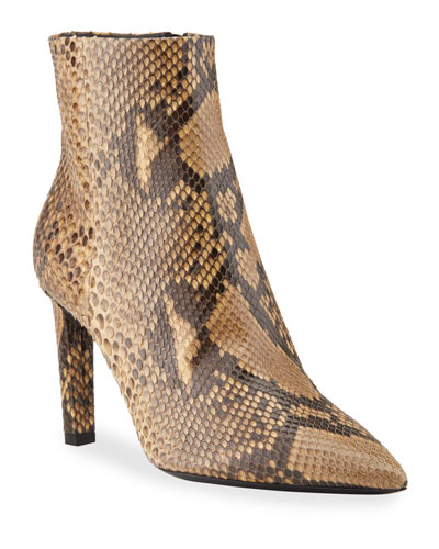 Kate Python Pointed-Toe Zip Booties