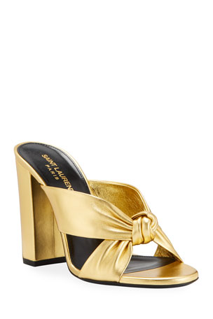 Saint Laurent Loulou 100mm Metallic Leather Mule Sandals