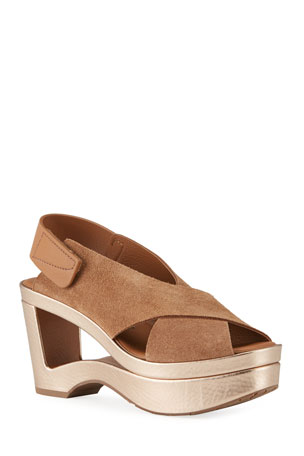 Pedro Garcia Fidelina Metallic Cutout Wedge Sandals