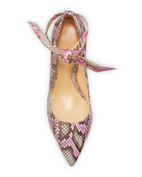 Image 4 of 5: Alexandre Birman Clarita Ankle-Wrap Python Pumps