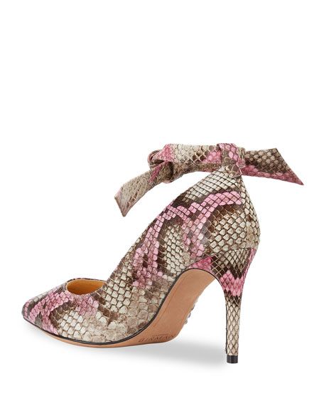 Image 5 of 5: Alexandre Birman Clarita Ankle-Wrap Python Pumps
