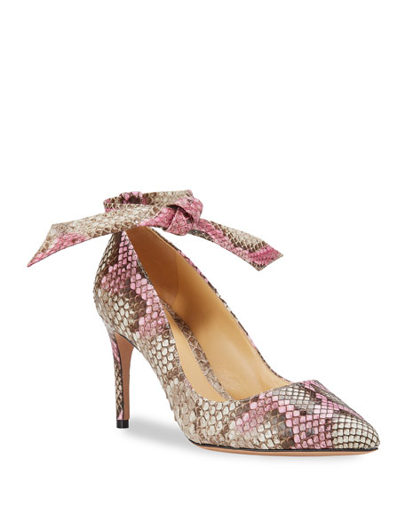Image 1 of 5: Alexandre Birman Clarita Ankle-Wrap Python Pumps