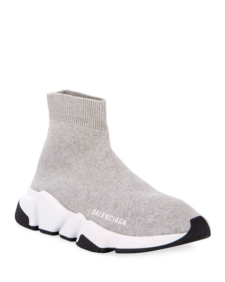 Image 1 of 4: Balenciaga Stretch-Knit High-Top Sock Trainer