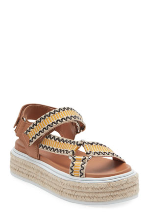 Prada Jacquard and Leather Platform Espadrilles