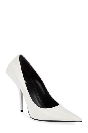 Balenciaga 80mm Square-Back Lambskin Knife Pumps $795.00