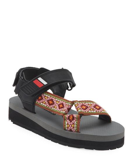 Prada Platform Jacquard Sport Sandals