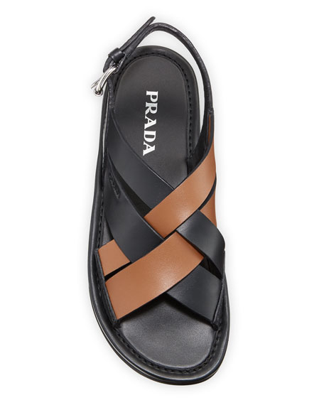 Image 2 of 3: Prada Colorblock Leather Flat Sandals