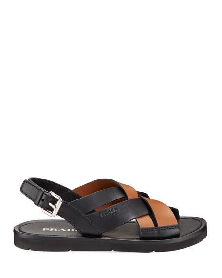 Image 3 of 3: Prada Colorblock Leather Flat Sandals
