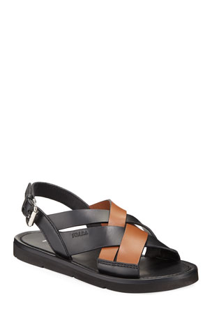 Prada Colorblock Leather Flat Sandals