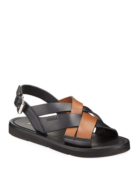 Image 1 of 3: Prada Colorblock Leather Flat Sandals