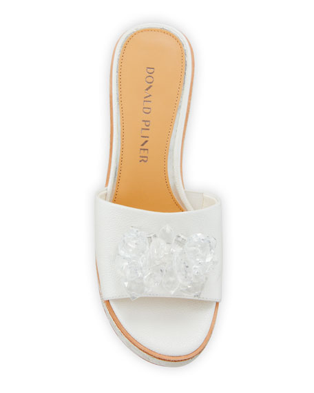 Donald J Pliner Idina Embellished Wedge Sandals, White